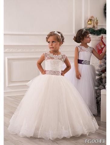 Vestido de bola Vestidos de flores para niñas Niñas Vestidos de novia 2015 Cinturón de encaje blanco Longitud del piso Vestidos de niñas para vestir de boda Vestido