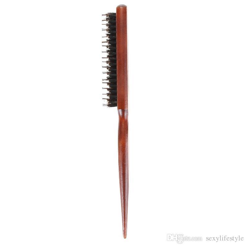 Saç Fırçası Ahşap Saplı Doğal Domuzu Kabarık Kıl Tarak Kuaförlük Kuaför Aracı Alay Kıl Saç Fırçası Salon