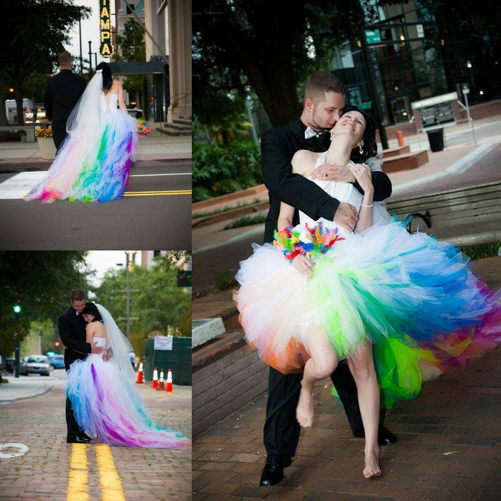 Colorful Rainbow Beach Wedding Dresses High Low Gothic Halter Back
