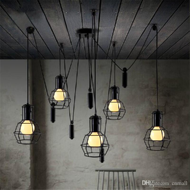 Loft pendant light vintage nordic loft edison bulb chandelier retro loft pendant light vintage nordic loft edison bulb chandelier retro ceiling spider pendant lamp antique adjustable aloadofball Image collections