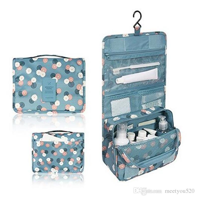 10 Style Portable Travel Makeup Cosmetic Bag Waterproof Hanging Travel Kit Toiletry Bag Bathroom Organizer Carry On Case Polka Dot Blue