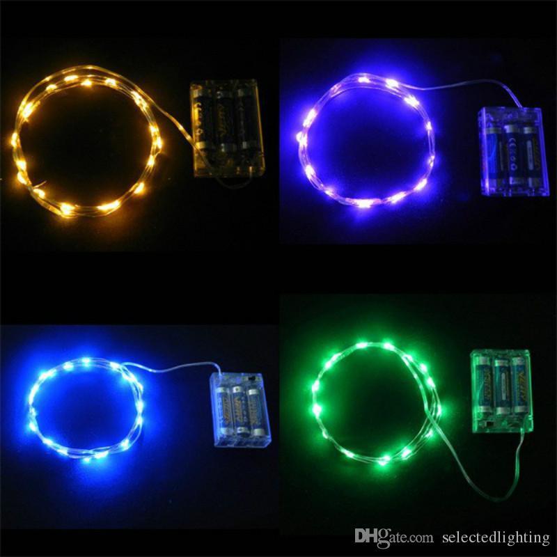 2m 20LED Kupferdraht Hellweiß / warmes Weiß Blau Gelb Rot Grün Rosa Lila AA Batterie Weihnachten LED-Schnur-feenhafte Lichter Feiertags-Licht