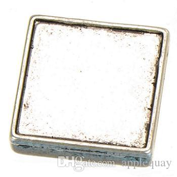 beads charms metal antique silver slide square diy cabochon set fashion jewelry findings for leather bracelets 13mm wide hole 18mm