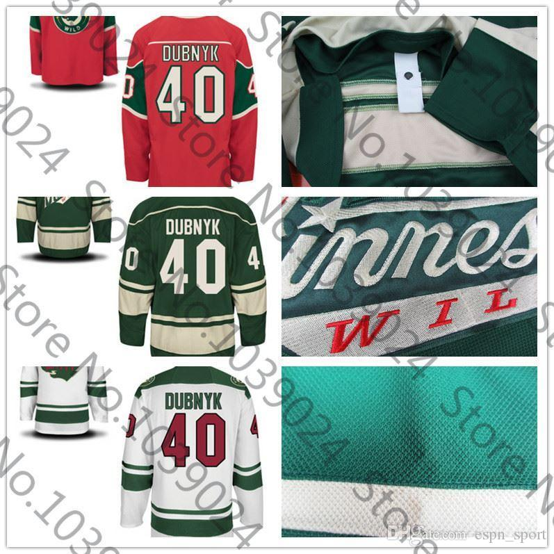 new product e1792 4efe8 New Arrival Minnesota Wild 40 DEVAN DUBNYK Jersey Green Red White Ice  Hockey Jersey Embroidery Logos