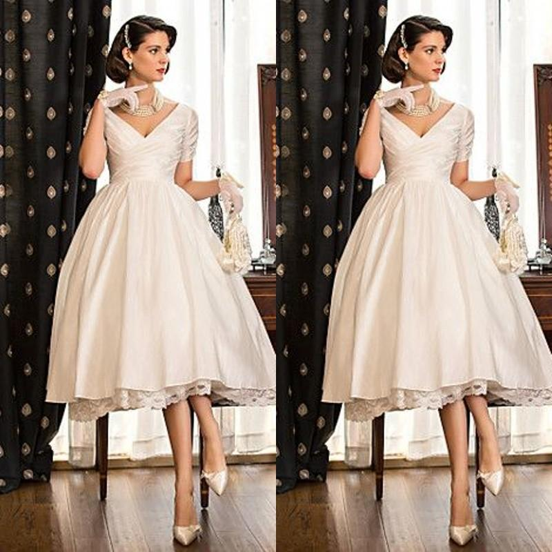 Discount 2015 Elegant Tea Length Wedding Dresses V Neck