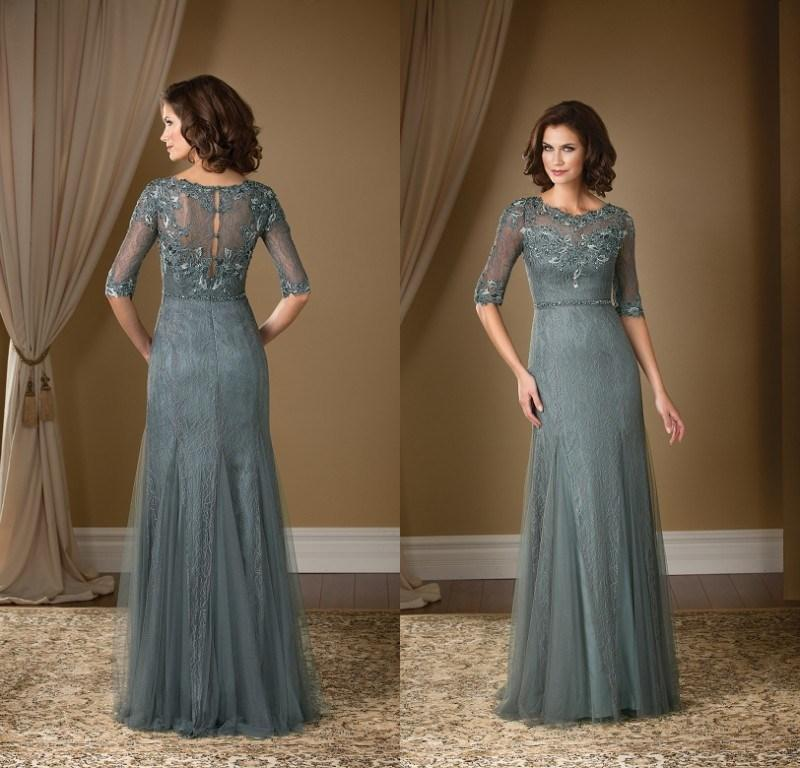 2015 Grey Mother Of The Bride Dresses Gorgeous Lace Scoop Half ...