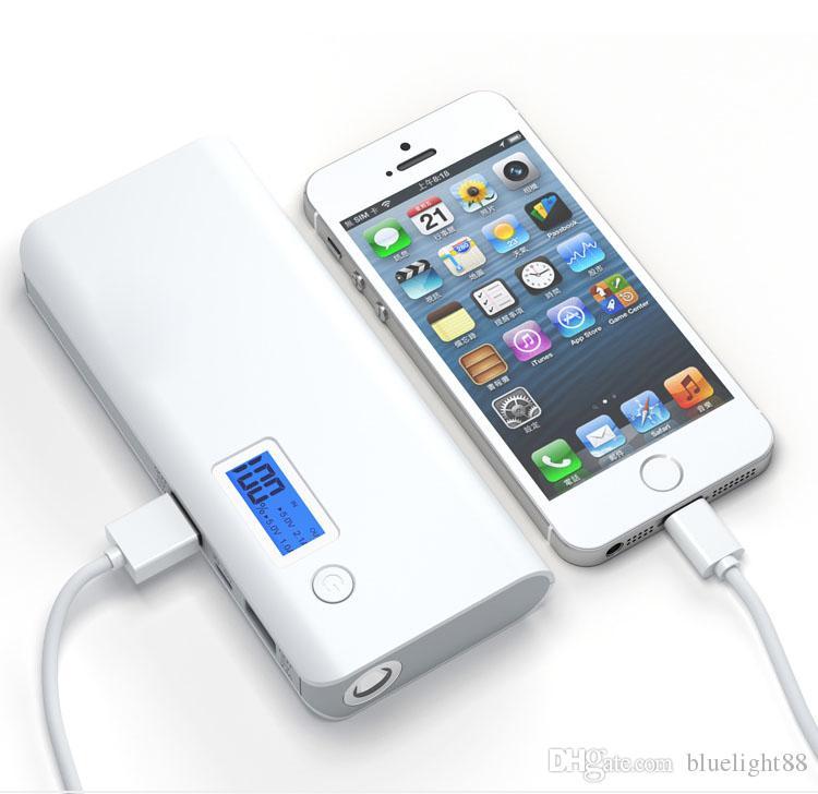 High capacity power bank with digital display 2 USB output LED emergency flashlight