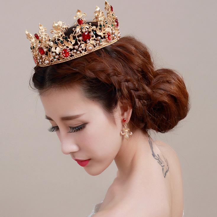Perfect Cheap Vintage Large Tiaras Crowns Wedding Earrings Pearls Silver Gold Plated Hair Jewelry Queen Bridal W6425 Jewellery For
