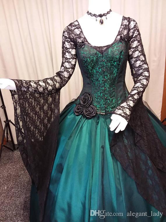 Vestido de novia gótico negro y verde de la vendimia 2018 Steampunk de manga larga Victorian Whitby Goth ata para arriba el vestido nupcial de la boda del tamaño extra grande