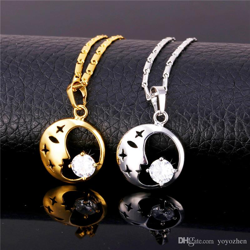 Women's Beauty Face Drop Earrings Platinum/18K Real Gold Plated Pendant Necklace Cubic Zirconia Jewelry Set