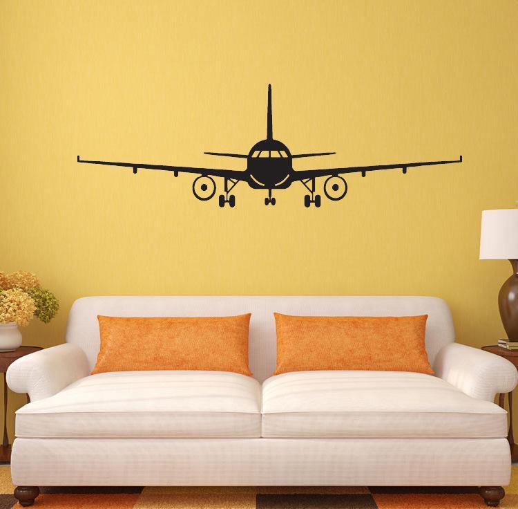 Siyah Uçak Duvar Sanatı Duvar Dekor Sticker Erkek Çocuk Odası Duvar Kağıdı Çıkartması Poster Transferi Duvar Grafik Duvar Appique