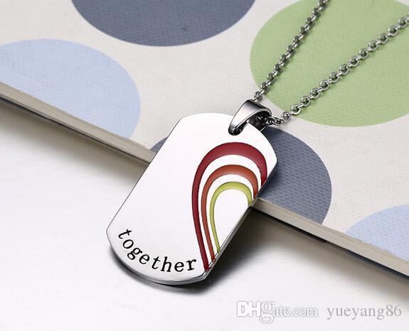 Brand New Romantic One Pair Couple Cadeaux D'amoureux Coloré Dog Tag Pendentif Collier En Acier Inoxydable Ensemble Cœur pour toujours