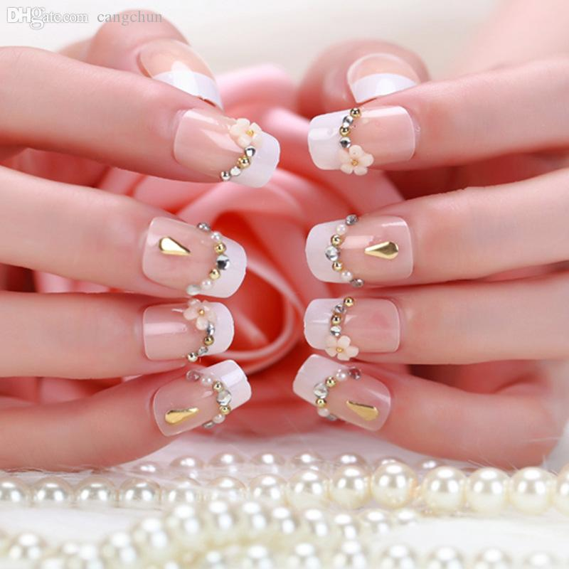 Wholesale High Quality Carved French Bride Lovely Patch Fake Nails ...