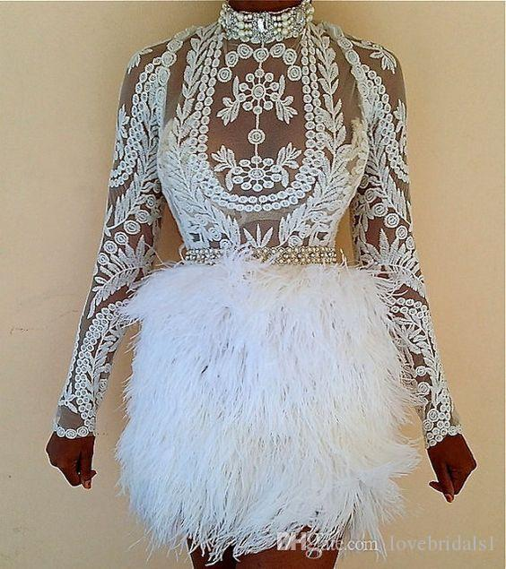 2017 Sexy fashion Cocktail Dresses with Feather Long Sleeves Sheath Lace Applique Formal Party Dress embrodiery Short Prom Gowns