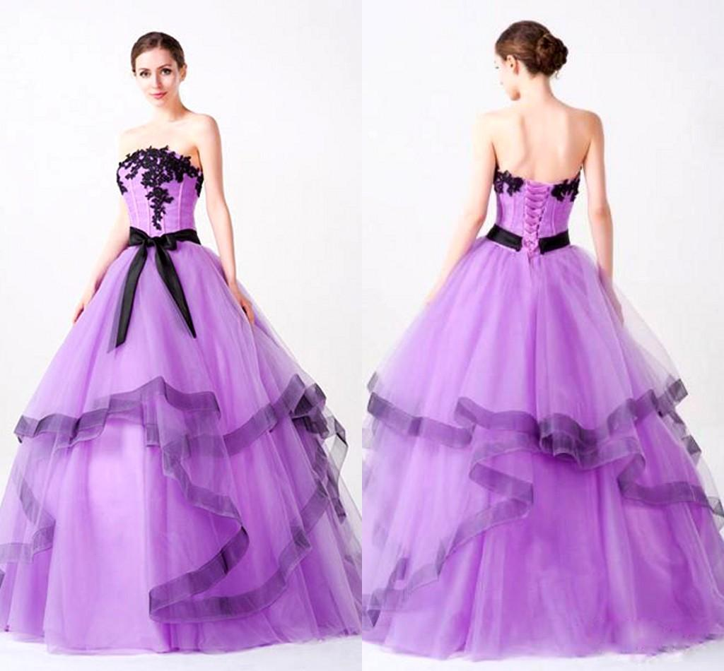 Light Purple Strapless Dresses