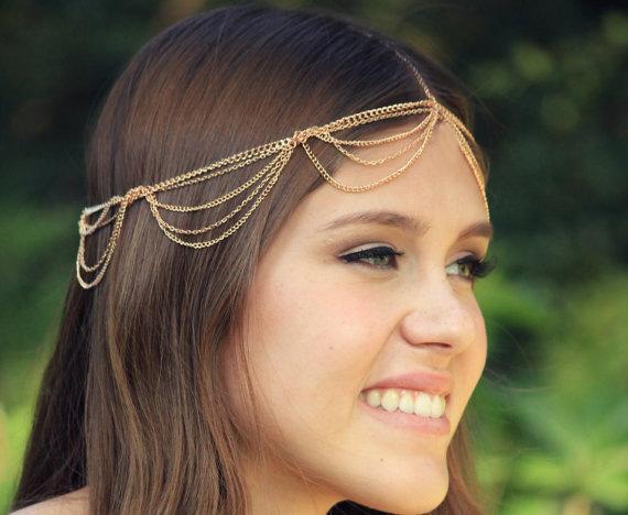 Sıcak Satış 2015 Vintage Kabuk Kafa Bantları Gelin Başkanı Zincir Altın ve Gümüş Düğün Saç Aksesuarları Kadınlar Için Headbands