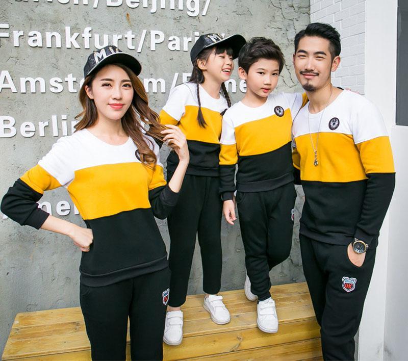 Abbigliamento la famiglia Nuovo 2017 moda Autunno madre padre Boy Girls Vestiti in cotone set Famiglia Abiti di corrispondenza Mommy and Me Clothes