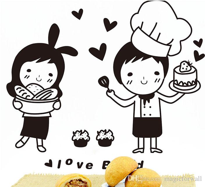 Cartoon Lovely Baker Wall Art Mural Decor Funny Restaurant Kitchen Tile Cabinet Refrigerator Decal Poster Graphic I love Bread Wall Quote