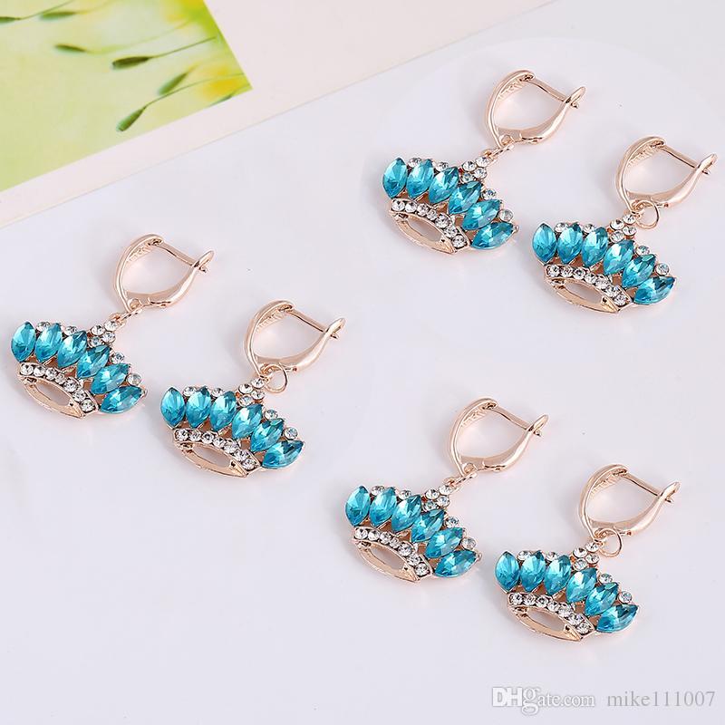 Korean Latest Fashion Design Wedding Jewelry Sets 2015 Charming Stud Earrings Online Sale Cheap Jewelry Sets