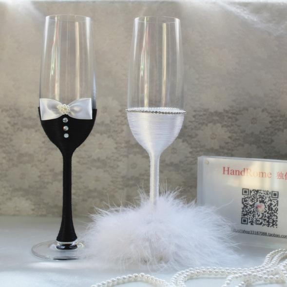 Exquisite Crystal Wine Glasses Handmade Feather Bride