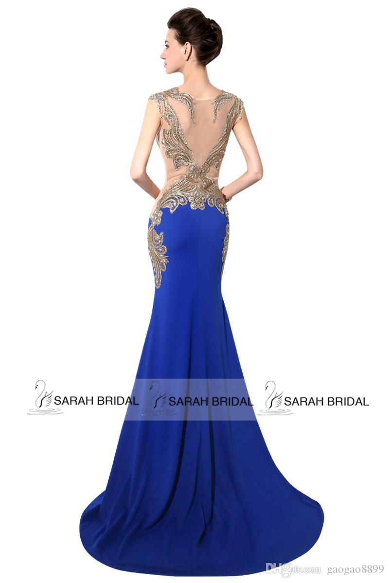 Sexy Mermaid Prom Party Dresses Beads Sheer Neck Scoop Gold Embroidery Royal Blue Red Formal Occasion Evening Gowns 2019 Custom Real Image
