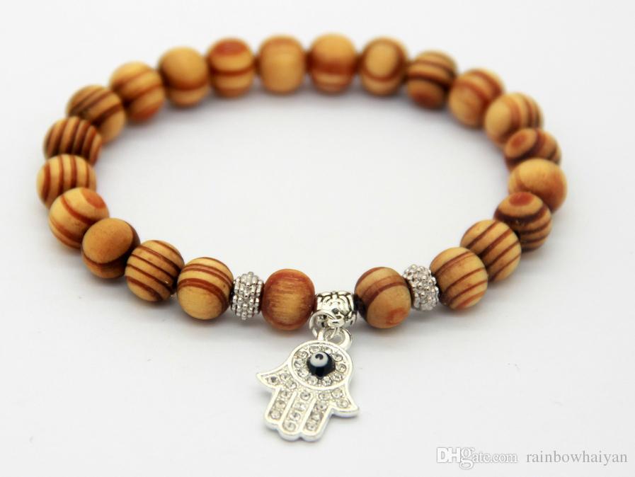Ny design Silverpläterad Fatima Hand Hamsa Charm Armband Partihandel Brown Wood Pärlor Bästa Present Smycken