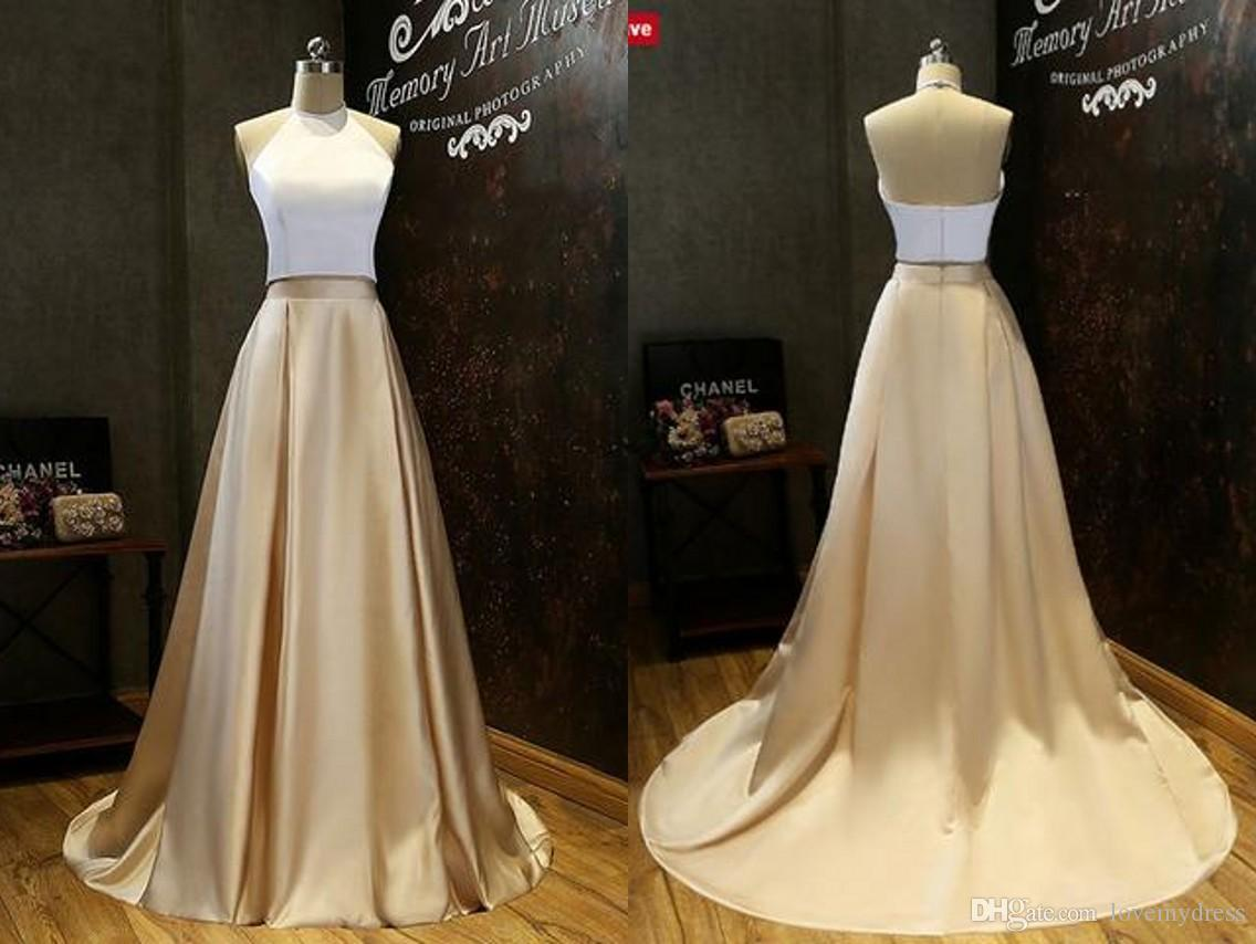 Simple Cheap Prom Dresses Long 2018 Halter A Line White And Gold Satin  Ruched Floor Length Womens Evening Party Formal Dress Long Sleeve Prom  Dresses ... 0a2033d938e9
