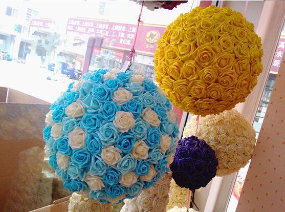 18% DI SCONTO Vendita calda Rose artificiali in schiuma la casa e la decorazione di nozze Capolini Kissing Balls matrimoni Multi colore 7 cm di diametro