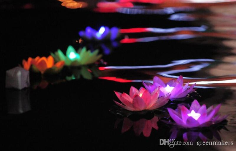 LED Artificial Lotus flower Colorful Changed Floating Water flower swimming Pool Wishing Light Lamps Lanterns Party supply