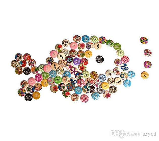 Tasarlanmış Süper Fantastik Yuvarlak Şekilli Boyalı 4 Delik Ahşap Düğmeler 30mm * 30mm / 25mm * 25mm