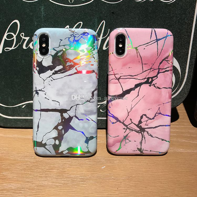 Airey Phone Cover Laser Marbling Texture Shell Soft TPU Plated Stone Cases Chrome Marble Case for iPhone X 6 6S 7 8 Plus