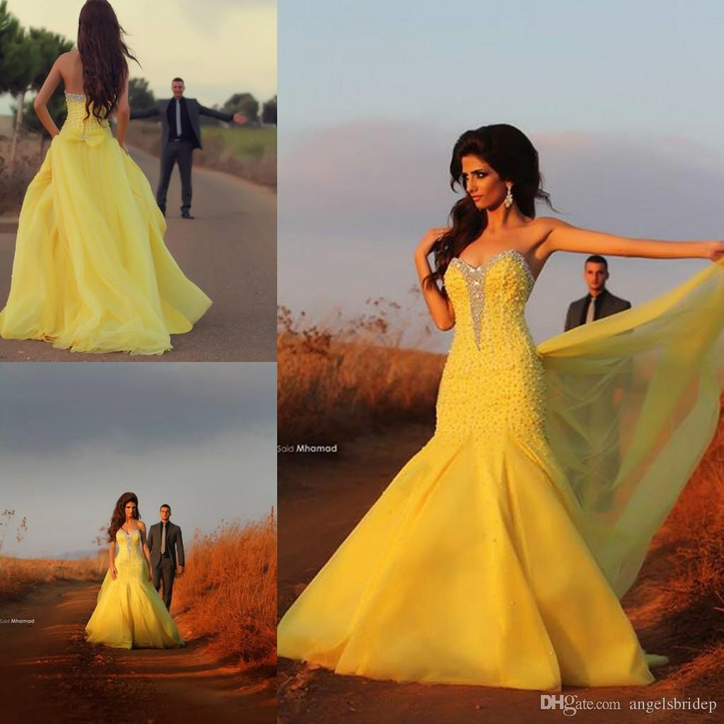 Pretty Yellow Evening Gowns Sweetheart Crystal Beaded Organza ...