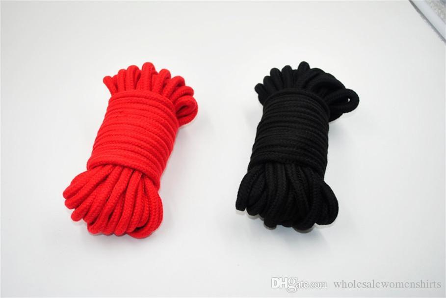 Черный красный 10 м длинный толстый хлопок фетиш секс сдержанность связывание веревка тела проводка для взрослых флирт игрушки для пары бесплатная доставка по Заале