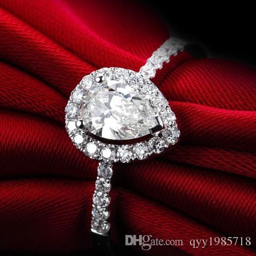 خاتم خطوبة من الماس الصناعي على شكل قلب 3 قيراط للنساء 925 خاتم زواج من الفضة عيار 18 قيراط مطلي بالذهب الأبيض