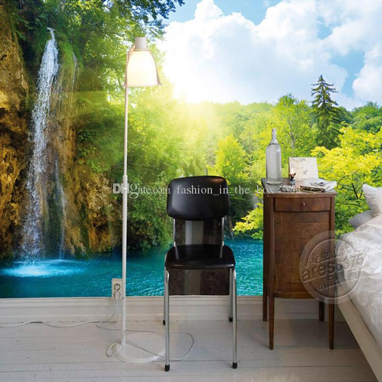 3d Waterfall Wallpaper Natural Scenery Photo Wallpaper Custom Wall Murals  Room Decor Girls Kids Bedroom Nursery Home Office Interior Design Black  Wallpaper ...