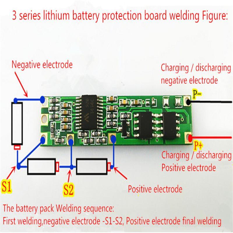 Battery Bms Protection Pcb Board For 3 4 Packs 18650 Li