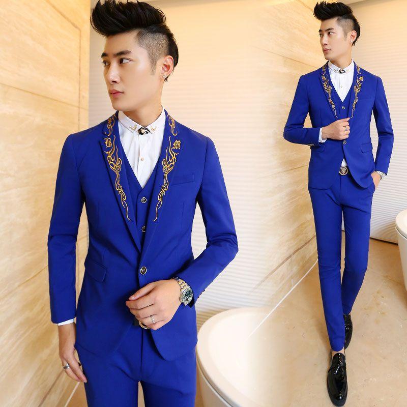 Fashion Slim Fit Blue Mens Formal Suits 2015 Notched Lapel