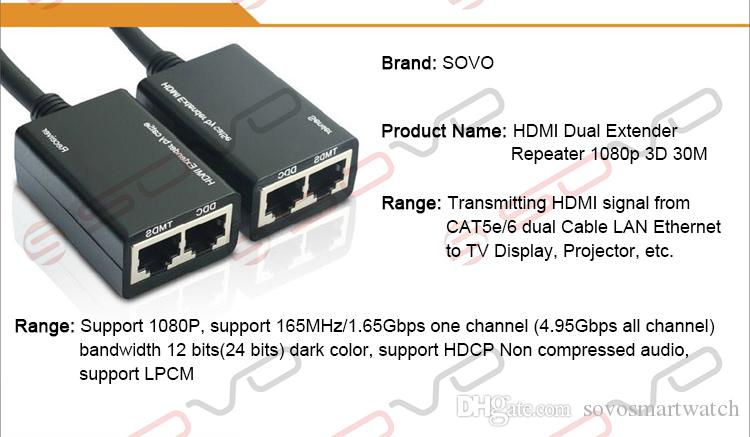 HDMI Cable Extender HDMI Over RJ45 CAT5e CAT6 Cable LAN Ethernet Balun Extender Repeater 1080p 3D 30M