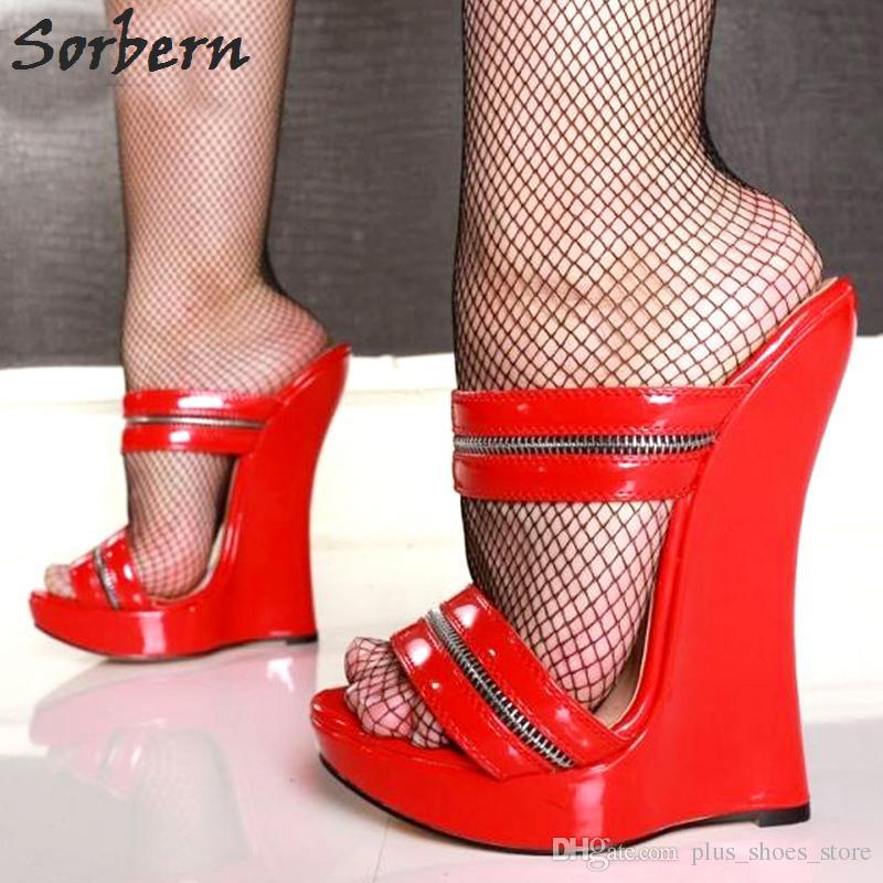 Sorbern Nouveau Arrivée Femmes Sandales Chaussures Habillées Ultra 18Cm Haut Talon Pantoufles Femme Plate-forme Wedges Sexy Feith Chaussures Pompes Femme Slip-on