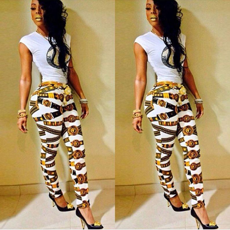 2019 Hot Sale Joggers Bandage Bodycon Jumpsuit Gold Print Pants High