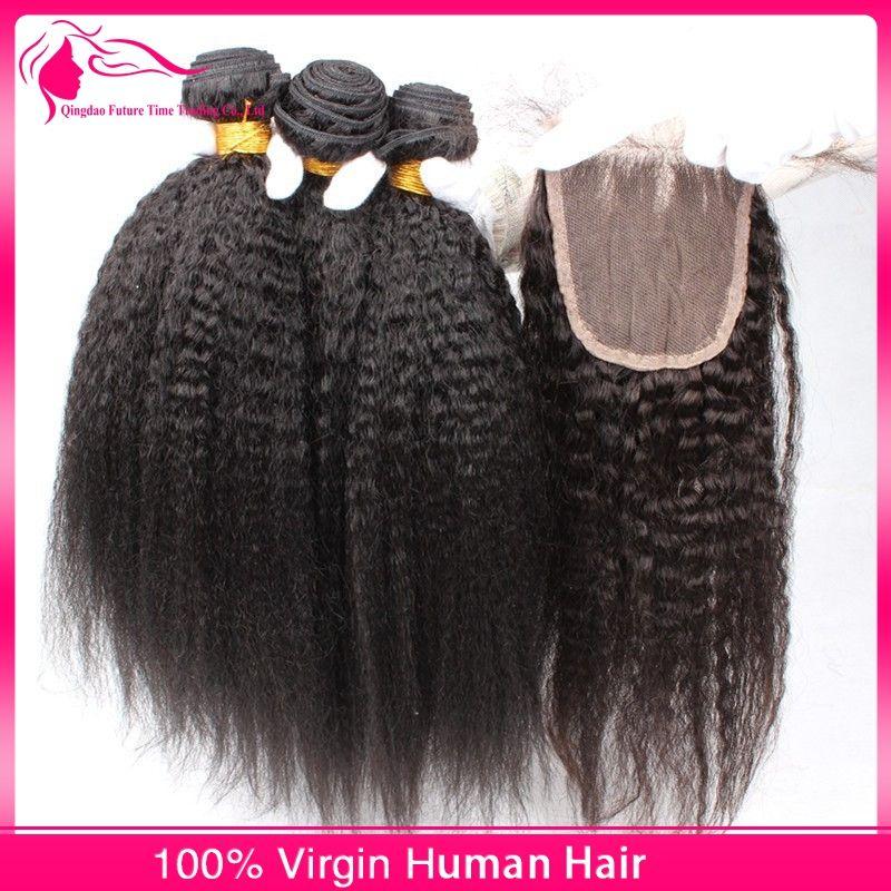 8A Sınıf Brezilyalı Afro Kinky Düz Saç Kapatma Ile 4 Adet İtalyan Kaba Yaki Dantel Üst Kapatma Adet 4x4 Insan Saç Demetleri Ile