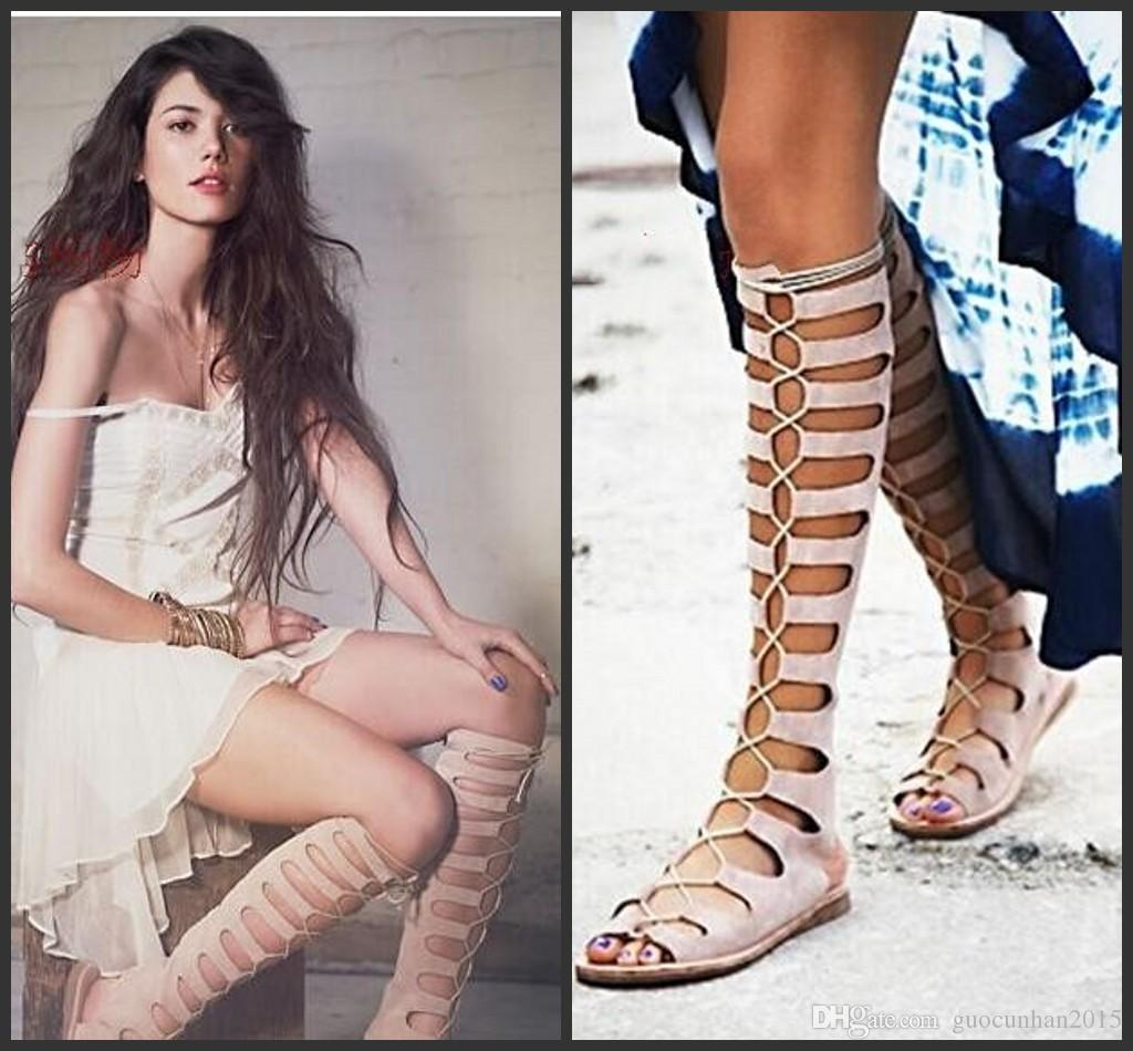 new 2016 knee high gladiator summer sandals women motorcycle boots