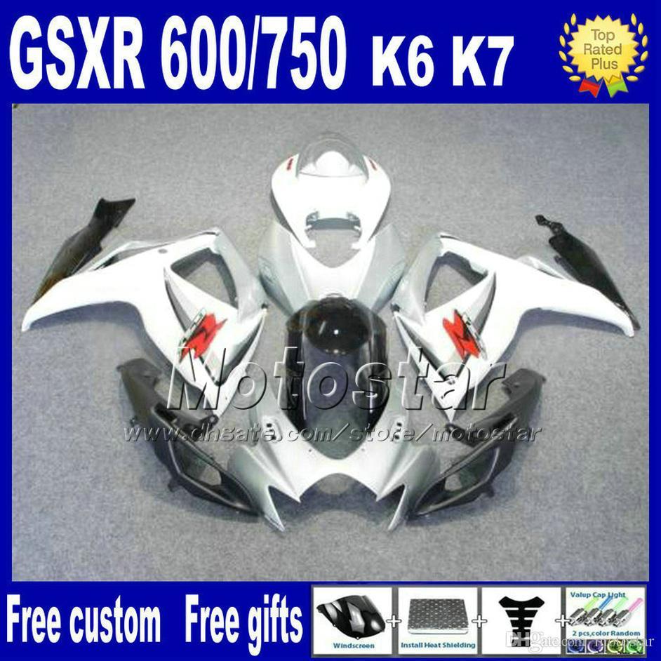 Fairing kit for SUZUKI GSXR 600/750 06 07 K6 white black fairings motobike GSX R 600 GSX R 750 2006 2007 FS8