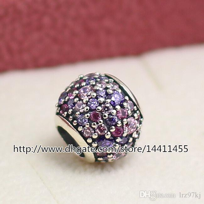 925 스털링 실버 포장 빛과 보라색과 분홍색 큐빅 지르코니아 구슬 유럽의 보석 팔찌 목걸이 맞는
