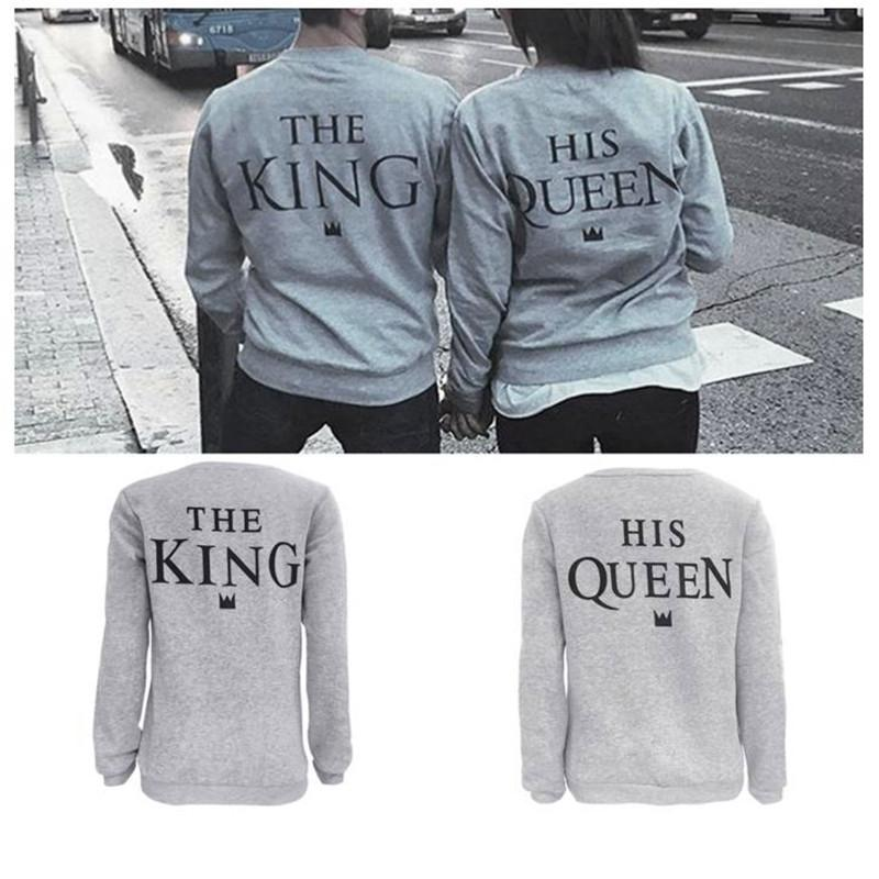 741a02f37b 2019 Wholesale 2017 Autumn Winter Lovers Couple King/Queen Hoodies Tops  Blouse Pullovers Sweatshirts Fashion Cotton Casual O Neck Light Gray From  ...
