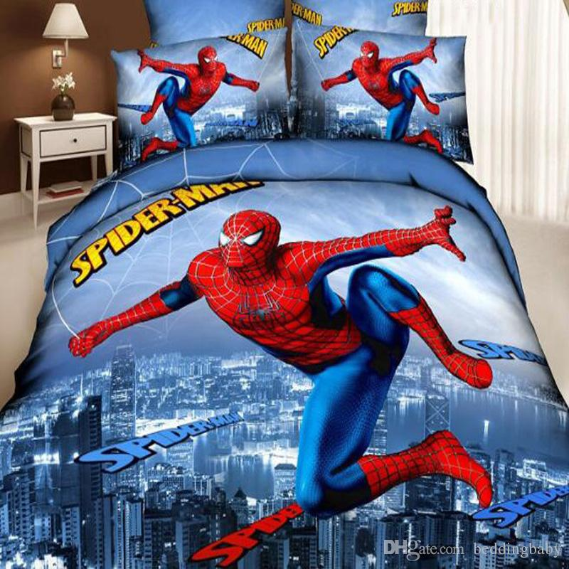 Merveilleux 3d Superman Bedding Set Spiderman Bedding Set For Kids Duvet Cover Bed  Sheet Cartoon Printed Bedding Sets Twin Queen King Size White Duvet Covers  Red ...