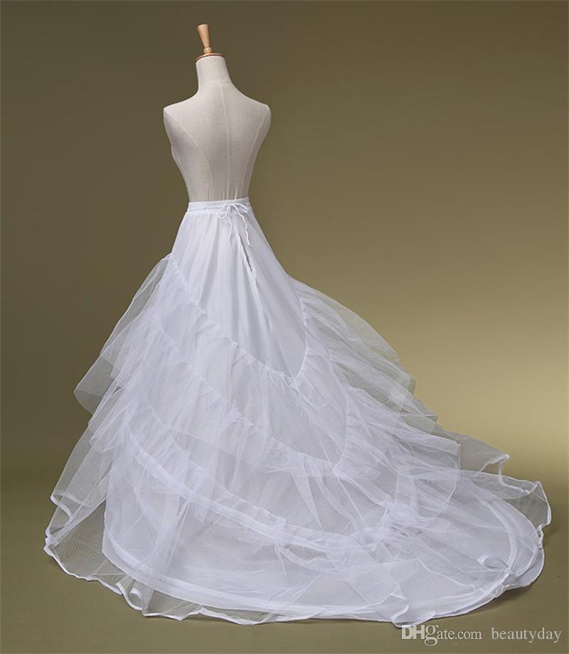 طبقات تول 3 الأطواق ثوب نسائي قماش قطني لفساتين الزفاف مع قطار حجم الحرة فساتين الزفاف