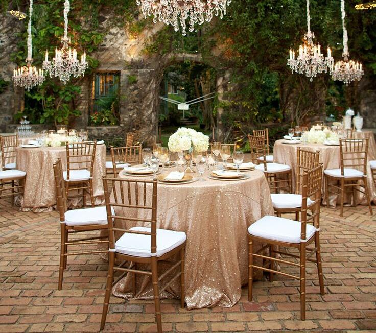 Best Choice 108inch Round Sequin Table Cloth Sparkly Champagne Tablecloth Beautiful Elegant Wedding Linens