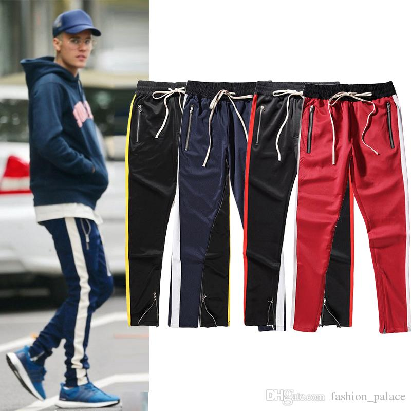 612c5eacef1ee 2019 Justin Bieber Fear Of God Pants Zipper Bottom Side Stripe Track Pants  Men Women Jogger Sweatpants Hiphop Streetwear Skateboard Pants MJG0915 From  ...