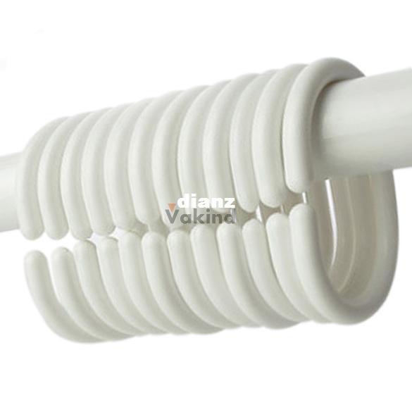 12pcs/pack Shower Curtain Hook Hanger Plastic Ring Bath Drape Loop Clasp